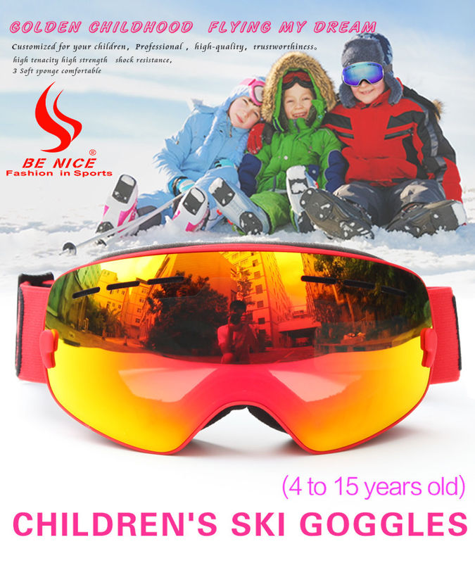Clear Lens Kids Polarized Ski Goggles Logo Design Strap With Weaving Or Printing
