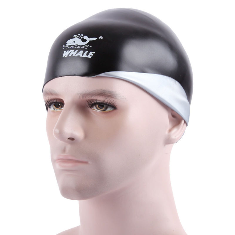 Reversible Sport  Professional Swim Caps , Black Silver Fun Silicone Swim Caps