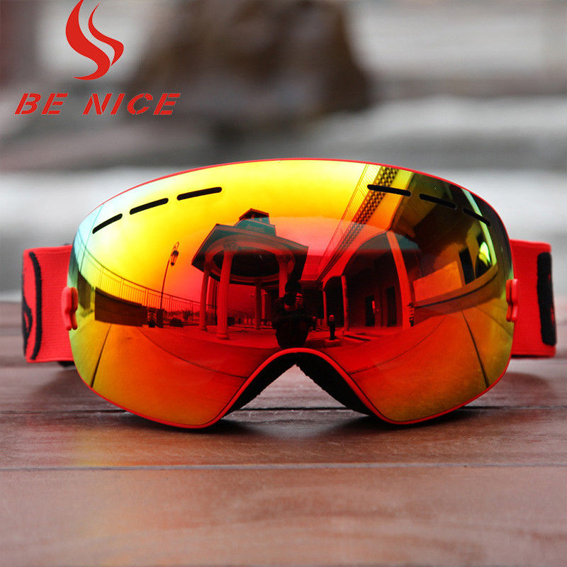 Customized TPU Frame Interchangeable Lens Snowboard Goggles With Three Layer Foam