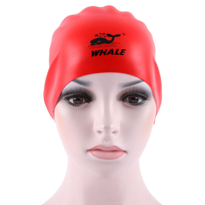 Premium Red Black Silicone Swimming Caps Wrinkle Free Reversible Cap With Print Logo