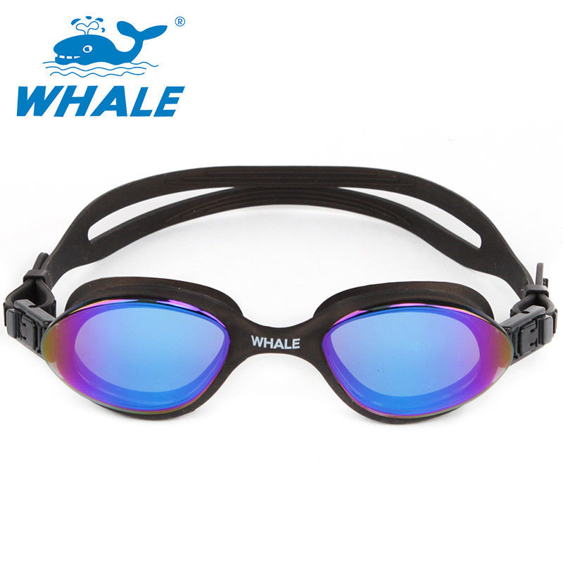 Mirrored Anti Fog Swim Goggles Latex Free , Low Profile Design With Stream Lines Shape