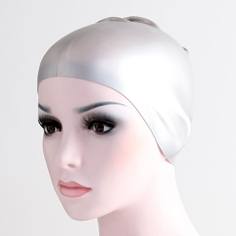 Silver Elasticity Silicone Swim Cap For Long Hair That Keeps Hair Dry