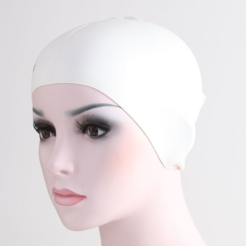 White Odorless Ladies Swimming Hats With High Performance Silicone Material