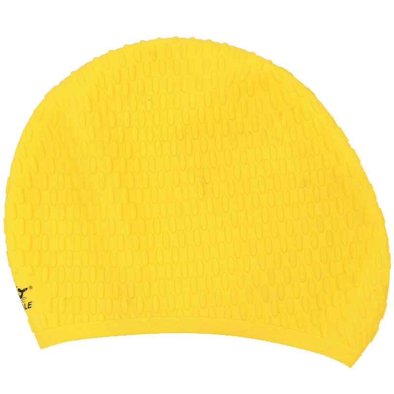 Wrinkle Free Yellow Long Hair Swim Caps Logo Printing  For Women And Man
