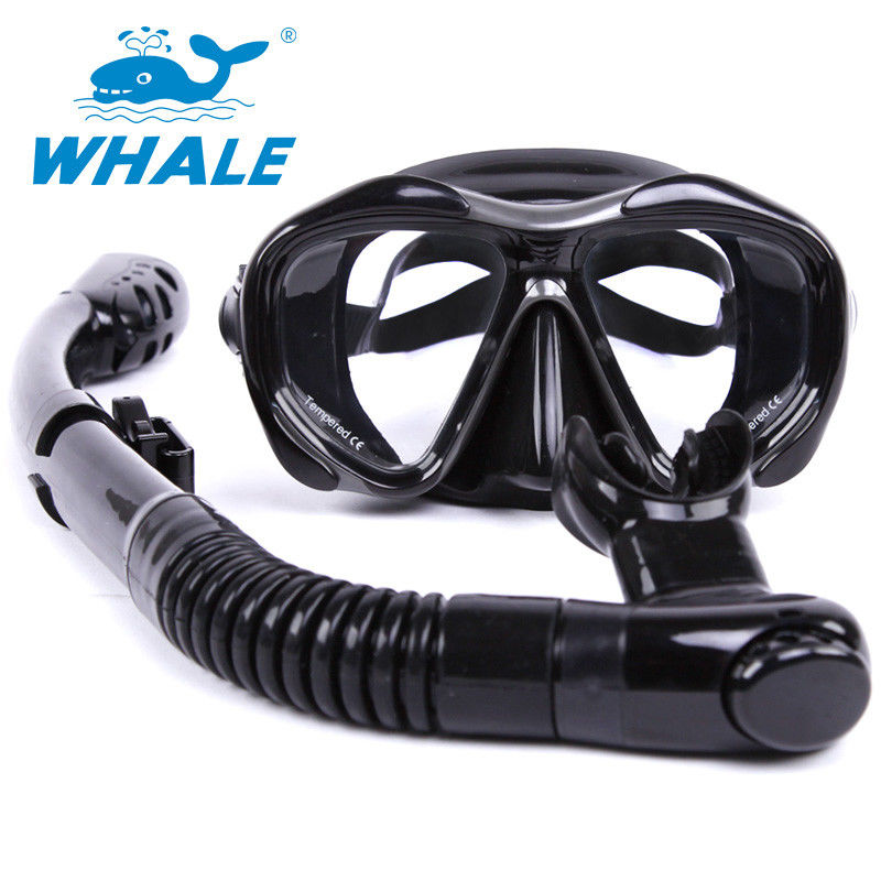 Black Food Grade Diving Snorkel Set With Full Flex Section And Comfortable Mouth Piece