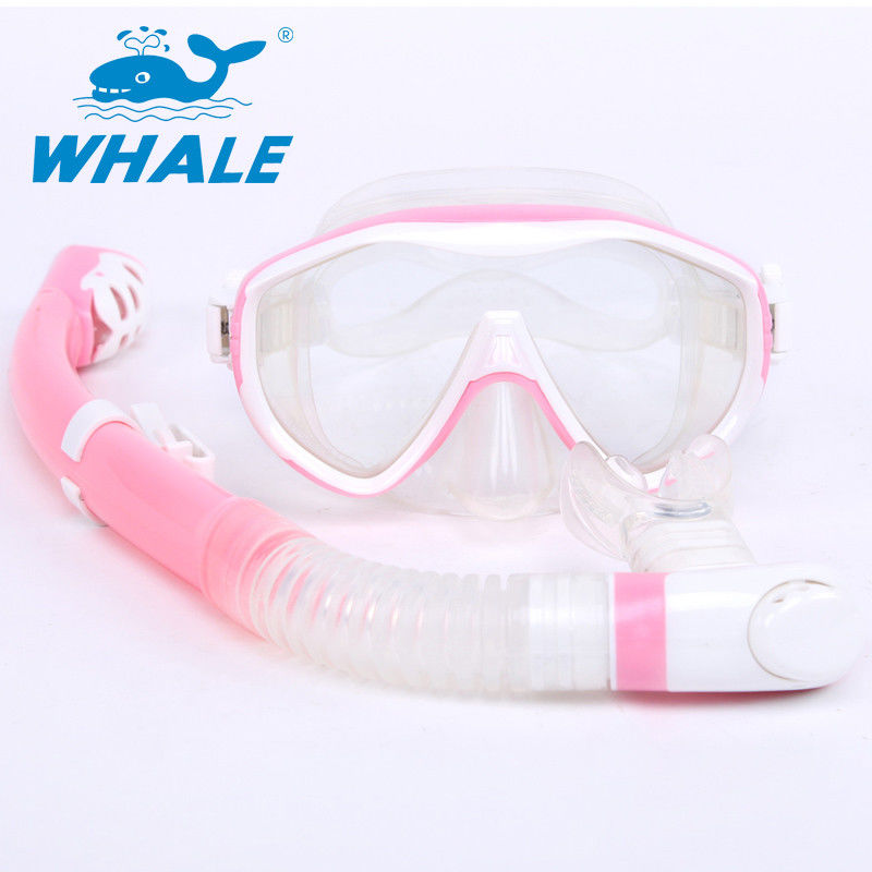 Pink Food Grade Diving Snorkel Set With 180 Degree Panoramic Wide View