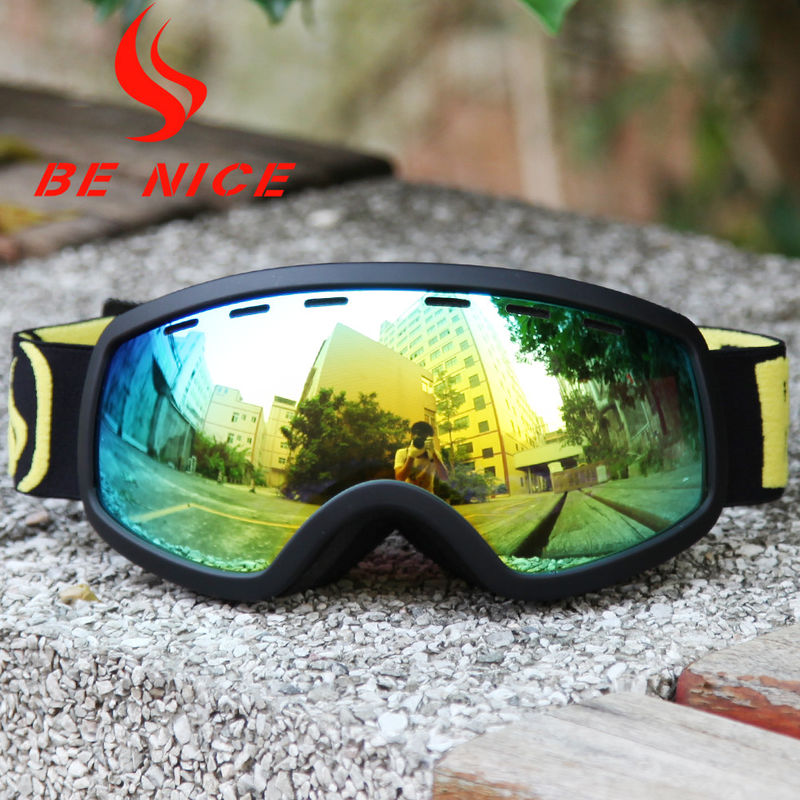 Adjustable Gold Kids Ski Goggles Anti Glare Lens With High Tough TPU Frame