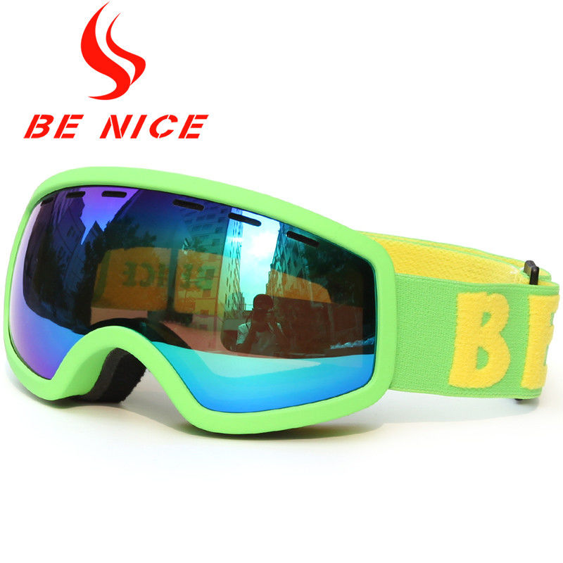 Double Dual Lens Green Kids Ski Goggle Anti Scratch For Boys And Girls
