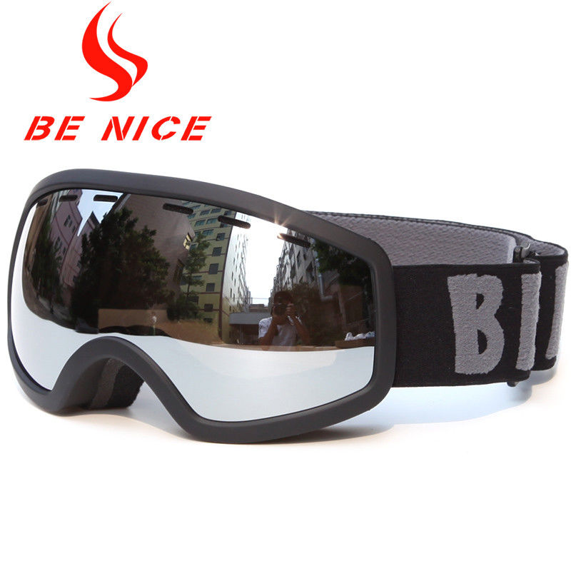Extra Large Silver Spherical Ski Goggles Wind Resistance For Snow Sports