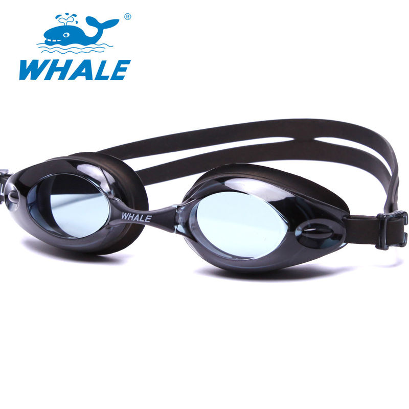 Fashion UV Protect Black Swimming Pool Goggles PC Anti - Fog Brown Lens