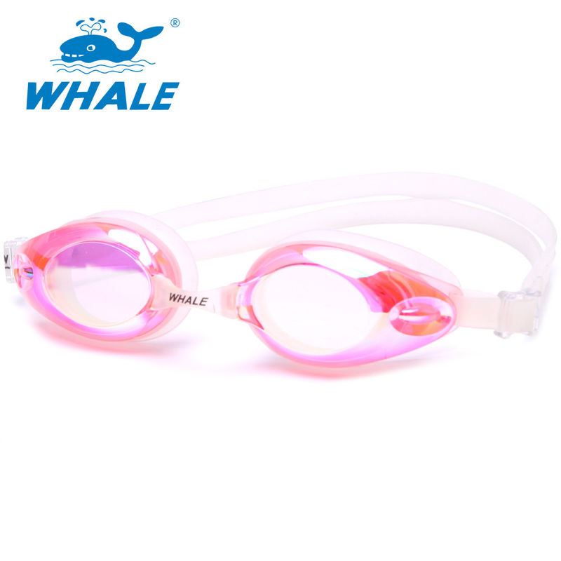 Eco Friendly Pink Silicone Swimming Goggles High Tear Strength , Fashionable Design