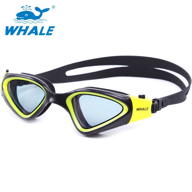 Black Yellow Anti Fog Swim Goggles With Professional USA PC Lens , Custom Printed
