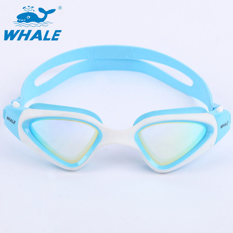 Fashionable Anti Fog Swim Goggles With Ultra Fit Silicone One Piece Frame , White And Blue Color