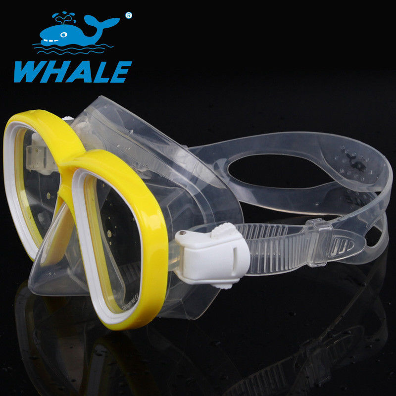 Double Skirt Silicone Diving Mask Yellow Color With Nose Cover For Adults