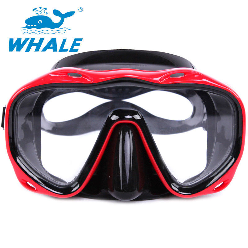 Durable Red Silicone Diving Mask , Underwater Diving Mask Transparent Lens For Adult