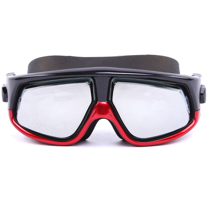 Red Mirrored Optical Swimming Goggles Silicone Gasket High Tear Strength