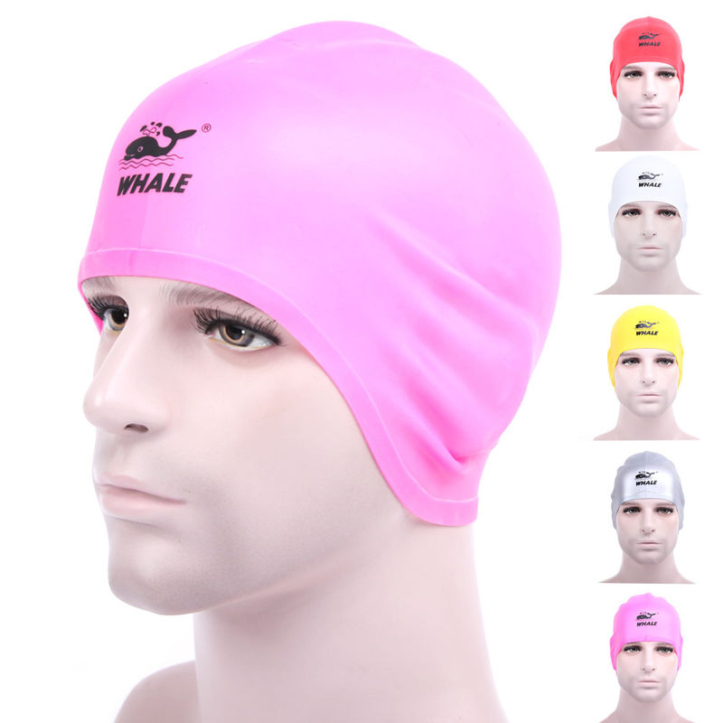 Water Sports Pink Cool Swim Caps For Big Hair With Washable Eco Friendly