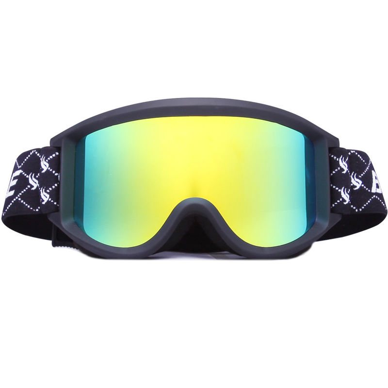 Eco Friendly Cool Gold Snow Ski Goggles With Extra Long Elastic Strap