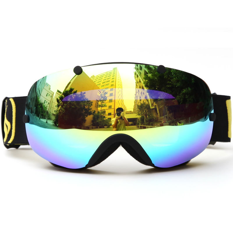 Anti Glare Snow Ski Goggles , Mirror Lens Snowboard Goggles Oversized Double Spherical Lens