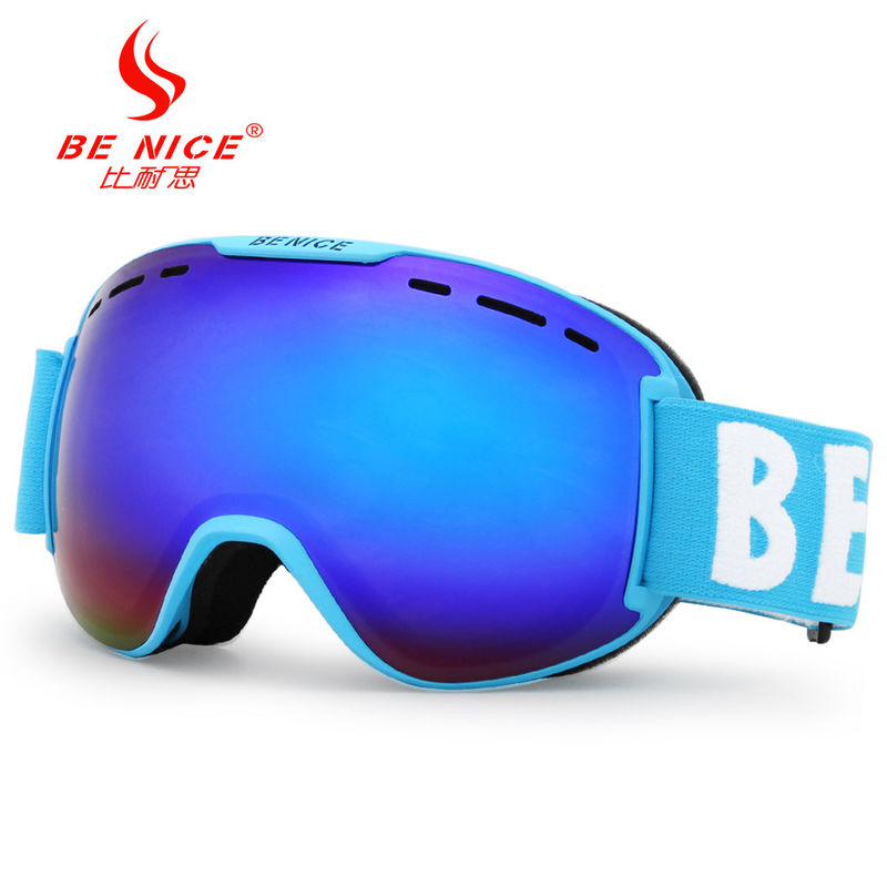 Double Mirror Lens Ski Goggles / Mirrored Ski Goggle Three Layer Foam Anti Fog