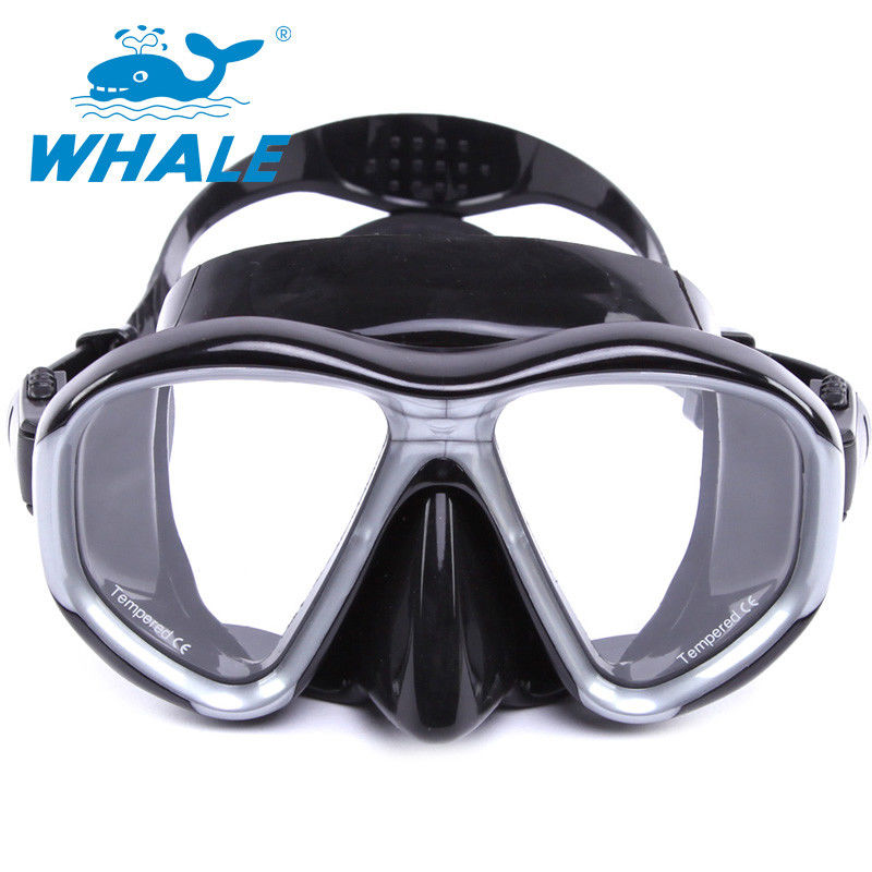 Tempered Glass Diving Mask with Silicon Mouth Piece , Crystal Clear View