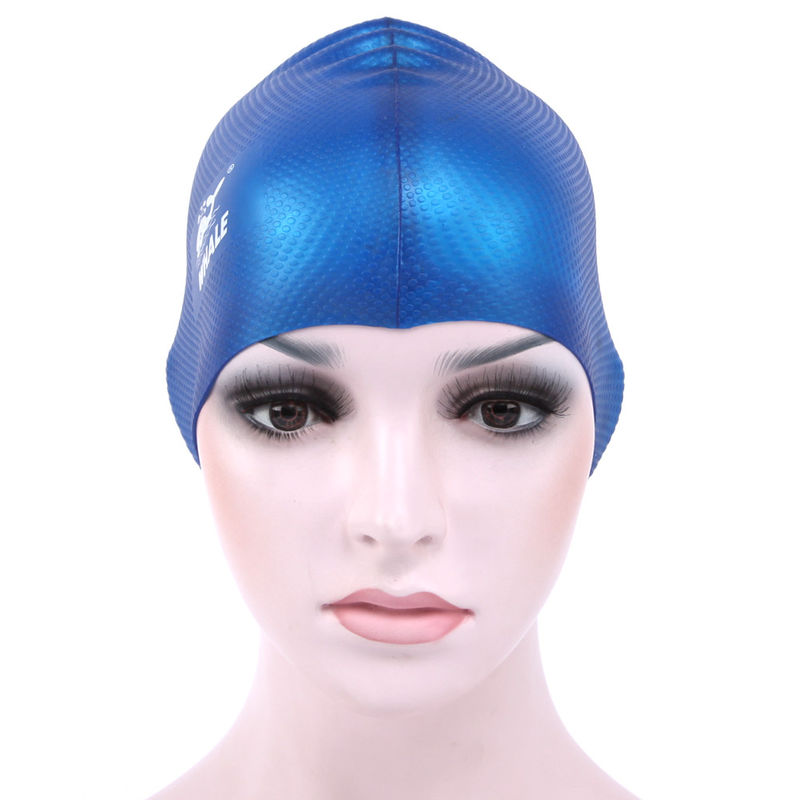 Blue Odorless Non-Toxic Silicone Elastic And Durable Swimming Head Cap For Adults