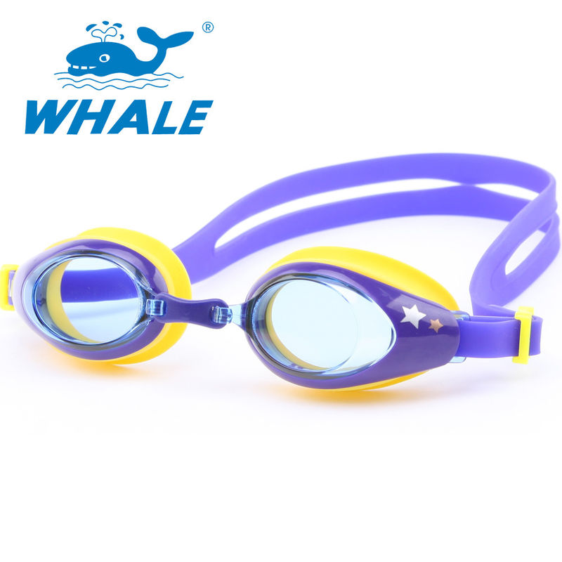 Purple Waterproof Non Fog Swimming Goggles PC Lens For Water Sports